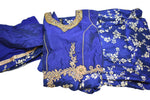 Silk Gold Emboss and Embroidered Anarkali Kameez Gown in Navy blue color