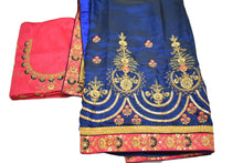 Load image into Gallery viewer, Pure Silk Embroidered Saree with Silk thread Flower design in Blue color