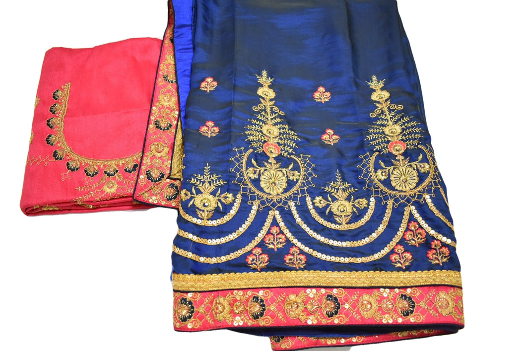 Pure Silk Embroidered Saree with Silk thread Flower design in Blue color
