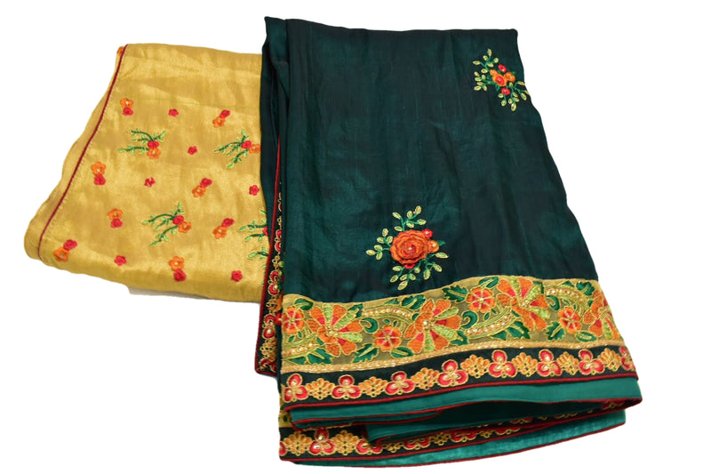 GREEN COLOR - PURE SILK -BRIDAL - EMBROIDERED SAREE - FLORAL DESIGN- SILK ZARI THREAD