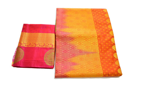 Pure South Silk Saree with Delicate Zari design in Reddish Orange color
