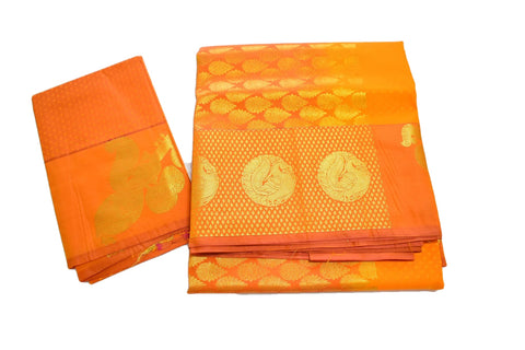 Pure South Silk Saree with Peacock Veena Zari Design in Yellow color
