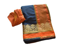 Load image into Gallery viewer, Cotton Silk Blend Linen Saree with Zari Design in Navy Blue color with Saree Blouse Size -Small/Medium