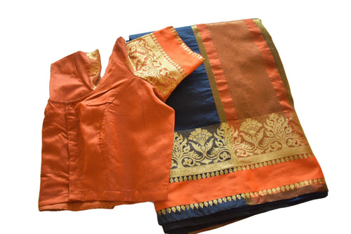 Cotton Silk Saree with Zari Design in Navy Blue color with Saree Blouse Size -Small/Medium