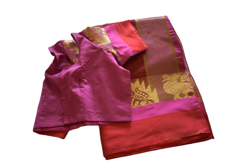 Cotton Silk Blend Linen Saree with Zari and Peacock Design in Maroon color with Saree Blouse Size -Small/Medium