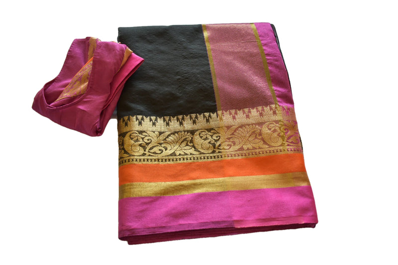 Black Color - Kalamkari Silk Cotton Handloom Saree - Silk Zari Peacock Pattern