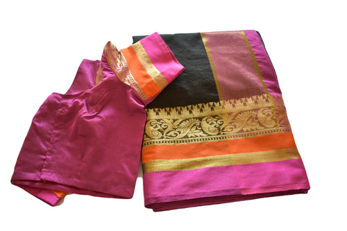 Cotton Silk Blend Linen Saree with Zari Design in Black color with Saree Blouse Size -Small/Medium