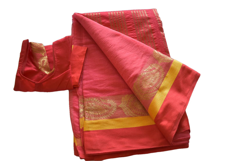 Cotton Silk Blend Linen Saree with Zari Design in Red II color with Saree Blouse Size -Small/Medium