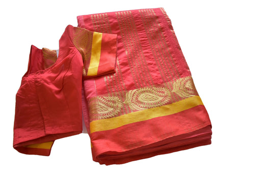 Cotton Silk Saree with Zari Design in Red color with Saree Blouse Size -Small/Medium