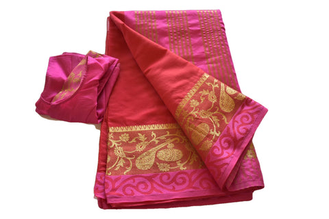 Cotton Silk Blend Linen Saree with Zari and Musical Instrument Design in Red I color with Saree Blouse Size -Small/Medium