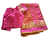 Load image into Gallery viewer, Cotton Silk Blend Linen Saree with Zari Design in Orange color with Saree Blouse Size -Small/Medium