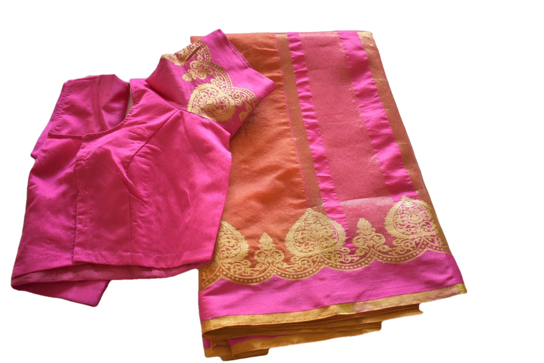 Cotton Silk Blend Linen Saree with Zari Design in Orange color with Saree Blouse Size -Small/Medium