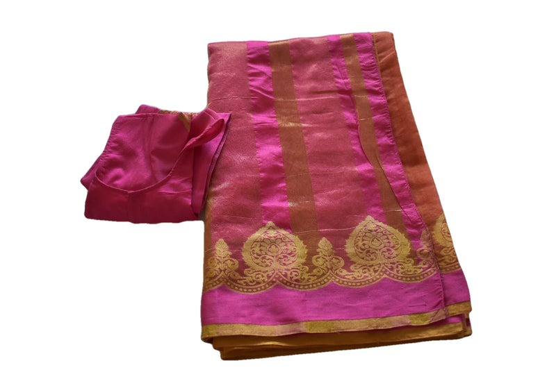 Apricot Orange Color - Kalamkari Silk Cotton Handloom Saree - Silk Zari Temple Carving Pattern