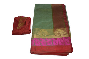 Cotton Silk Blend Linen Saree with Zari Design in Green III color with Saree Blouse Size -Small/Medium