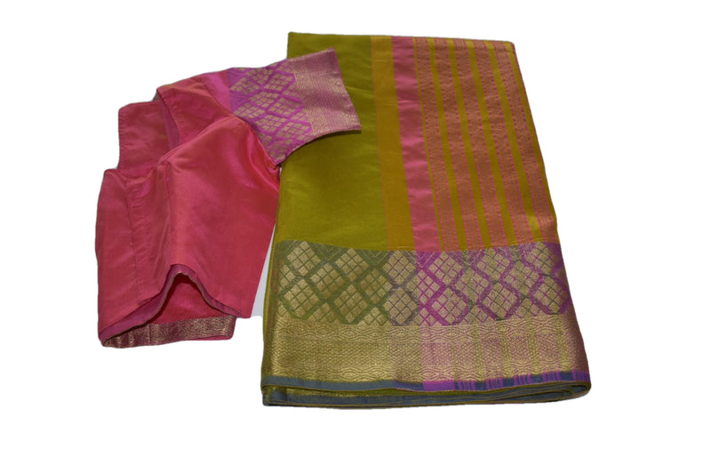 Cotton Silk Blend Linen Saree with Zari Design in Green I color with Saree Blouse Size -Small/Medium