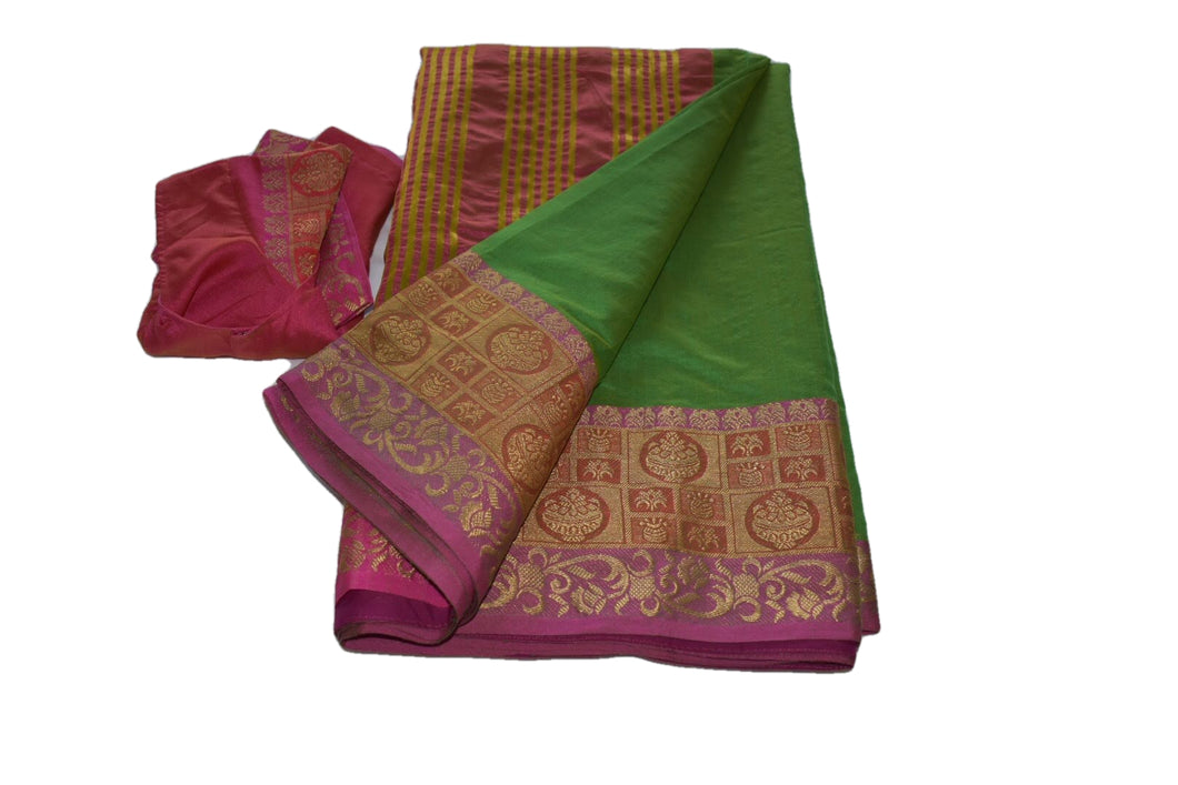 Cotton Silk Blend Linen Saree with Zari Design in Green II color with Saree Blouse Size -Small/Medium