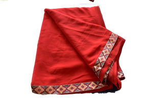 Pure Georgette Saree with zari border in Burgundy Red Color