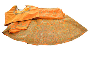 Silk Embroidered and Jewel Studded Lehenga Skirt in Orange color