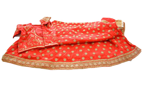 Silk Embroidered Lehenga set in Red/Gold Color