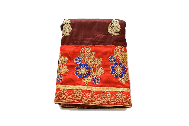 Pure Silk with Raw silk Effect Gold Zari Embroidered Saree in Maroon Red Color with Saree Blouse Size - Small/Medium