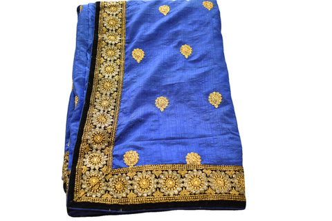 Pure Silk Embroidered and sequin Saree in Blue color