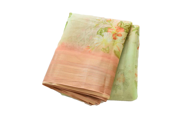 Pastel Green Color - Organza Silk Saree - Silk Zari Border And Pallu