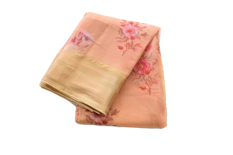 Pastel Orange Color - Organza Silk Saree - Silk Zari Border And Pallu