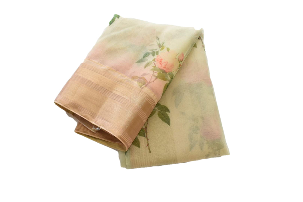 Floral Design Organza Silk Saree in Greenish Beige Color with Gold Zari border