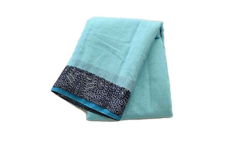 Aqua Blue Color - Pure Georgette Saree - Block Print Border