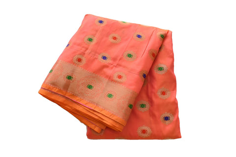 Pure Banarasi Silk Saree with Delicate Zari Design in Two Tone shades of Peachy Pink Color