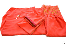 Load image into Gallery viewer, Georgette Top and Embroidered Pallazzo Pants in Orange color - On Clearance Sale