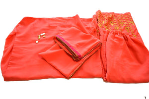 Georgette Top and Embroidered Pallazzo Pants in Orange color - On Clearance Sale