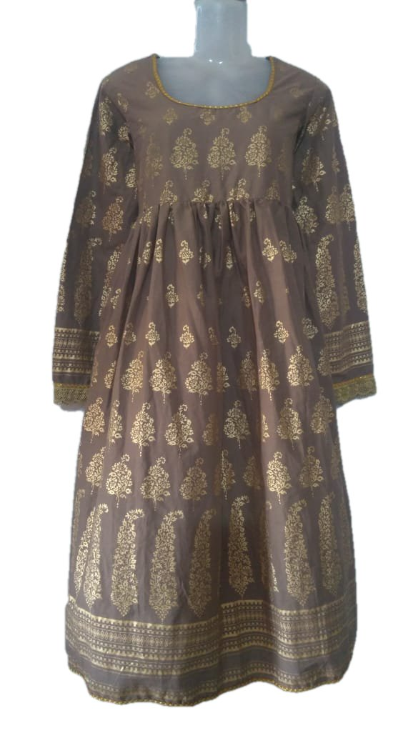Gold Emboss Cotton Anarkali Kameez Kurti Brown color with Cotton Churidhar - Size - Small/Medium