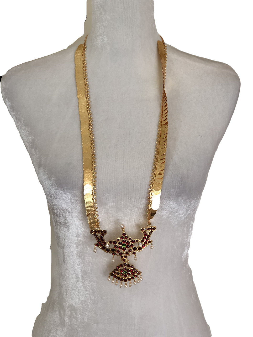 Goddess Lakshmi Coin Necklace with colored Enamel Design and White Pearl Beads - Also used as for Deity Jewelry