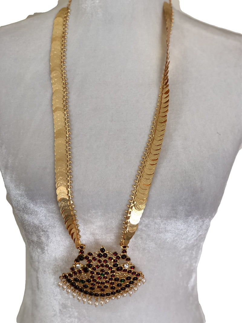 Goddess Laxmi Coin Gold Plated long Necklace - Colored Enamel and White Pearl Beads