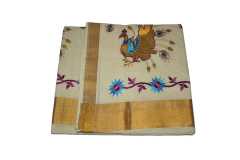Silk Thread Embroidered Kerala Kasavu Cotton Saree with Peacock and Flower Embroidery V