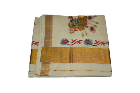 Silk Thread Embroidered Kerala Kasavu Cotton Saree with Peacock and Flower Embroidery VI