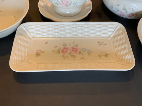 Tea Rose Design Bread Serving Tray