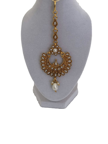 Gold Plated Maang Tikka and Earring Set with Pearl Beads