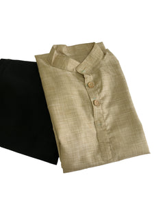 Mens Khadi Silk Kurta in Brownish Beige Color