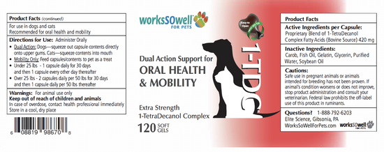 1-TDC ORAL HEALTH + MOBILITY SUPPORT FOR DOGS & CATS 2 Bottles (240 soft gels)