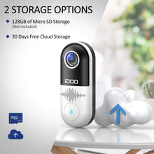 Load image into Gallery viewer, Video Doorbell WiFi,128GB 1080p HD Doorbell Camera Chime,2-Way Audio,Motion Detector,Night Vision,Home Security,Smart APP iOS/Android