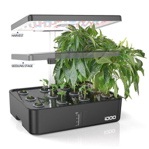 iDOO 12Pods Indoor Herb Garden Kit, Hydroponics Growing System with LED Grow Light