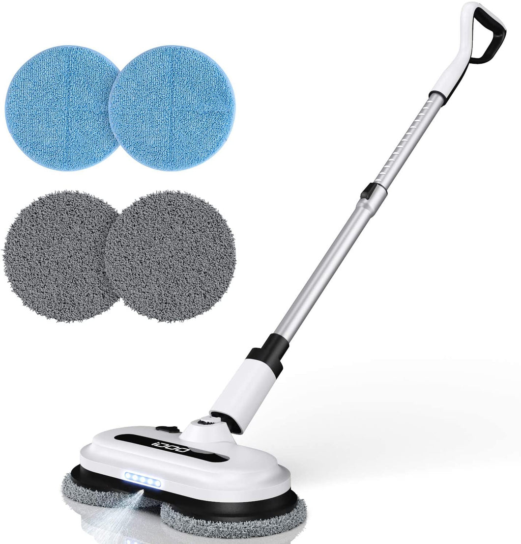 IDOO Cordless Electric Spin Mop, Spray Mop with Built-in 300ml Water Tank (4 Mop Pads)