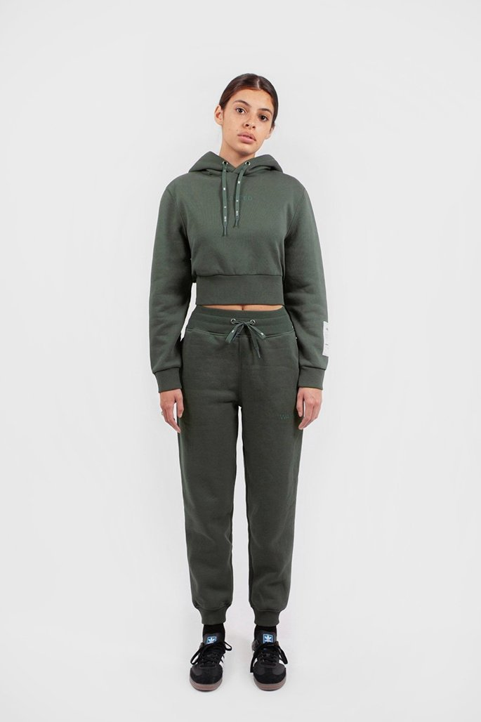 Crop Hoodie Essentiel Vert Ardoise - WASTED PARIS