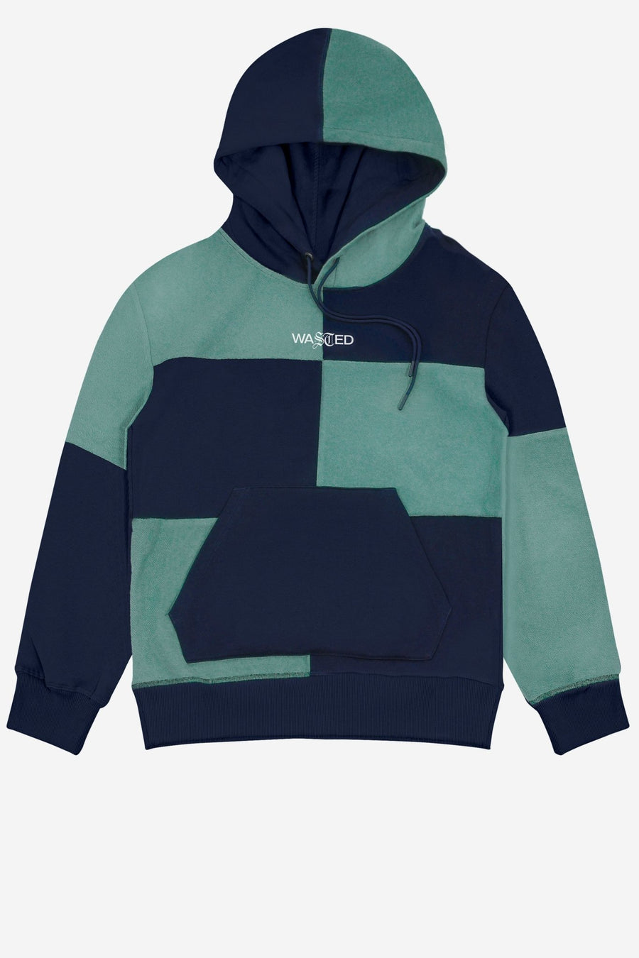 Hoodie Patchwork Menthe/Bleu - WASTED PARIS