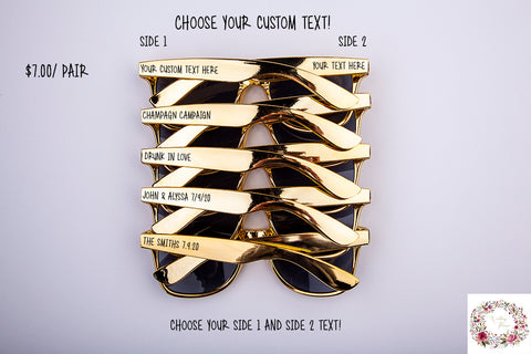 Custom Gold Bachelorette Party & Wedding Sunglasses
