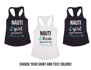 "Custom Personalized ""Nauti Girl"" & ""Nauti Bride"" Wedding & Bachelorette Tank Tops or V-Necks Pack"