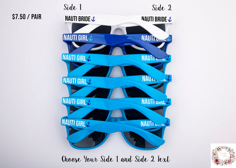 Nauti Bride & Nauti Girl Custom Text Bachelorette & Wedding Sunglasses Favor