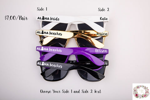 Aloha Beaches & Aloha Bride Custom Bachelorette & Wedding Sunglasses